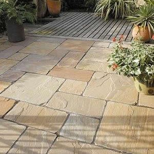 Golden Brown Indian Sandstone Natural 22mm Calibrated Patio Paving Slabs Pack 15.5m2