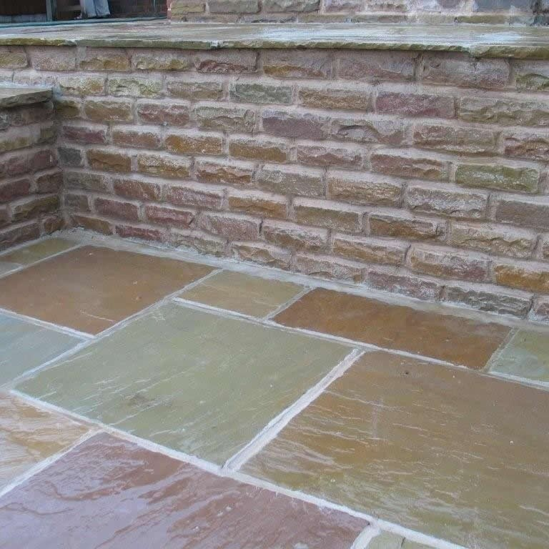 Tumbled Raj Green Indian Sandstone Natural 22mm Calibrated Patio Paving Slabs Pack 15.5m2