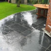 Kotah Black Indian Limestone Natural 22mm Calibrated Patio Paving Slabs Pack 15.5m2