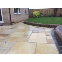 Tumbled Fossil Mint Indian Sandstone Natural 22mm Calibrated Patio Paving Slabs Pack 15.5m2