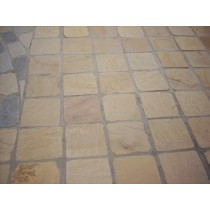 Fossil Mint Indian Sandstone Natural Paving Cobbles 10cm x 10cm