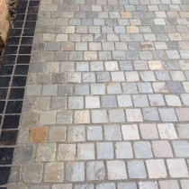 Light Grey Indian Sandstone Natural Paving Cobbles 10cm x 10cm