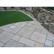 Tumbled Light Grey Indian Sandstone Natural 22mm Calibrated Patio Paving Slabs Pack 15.5m2